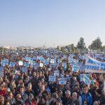 Manifestantes llegados desde diferentes puntos de la provincia.